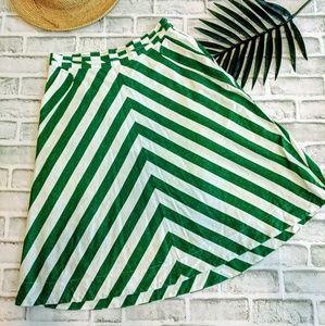 Green & White linen skirt Postmark Anthropologie